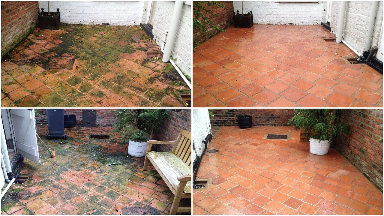 Some jobs take a little more work than others. A very slippery terracotta rear yard in York YO61- jet washed, treated and rinsed down. Wow what a difference.