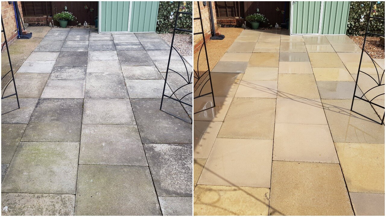 Before & After pictures of a concrete flagstone patio clean which we power washed and treated in the Selby YO8 area. Another happy customer.