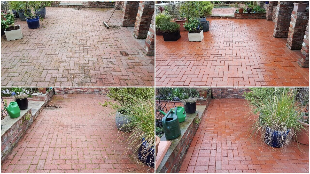Yorkshire Pressure Clean working their magic again this time on a clay block paved patio area in Doncaster DN6.