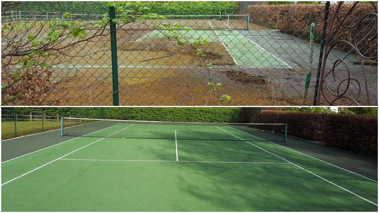 Tennis court moss removal in Doncaster DN5 (about 30 wheel barrows of moss removed) and jet washed with our flat surface cleaners. Hard work but the results speak for themselves.