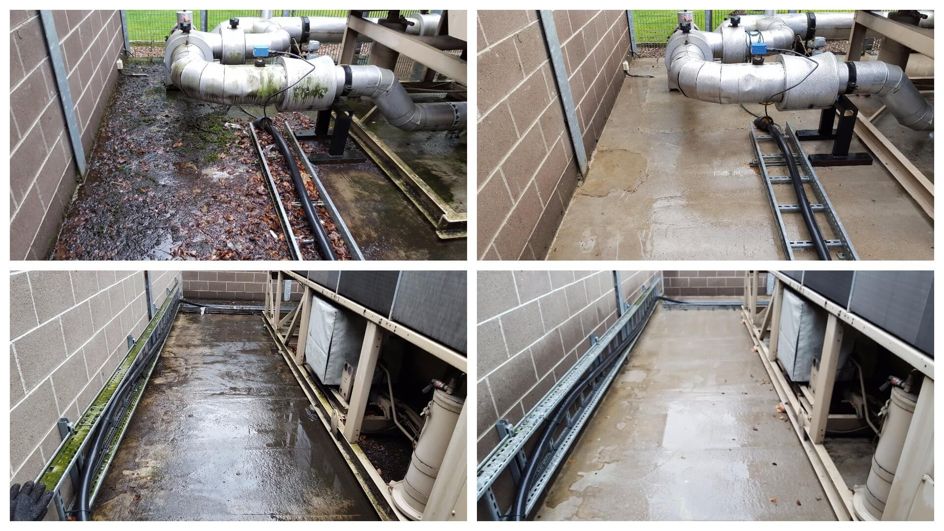 Commercial jet washing for one of our clients in Leeds LS10. Spot the difference.