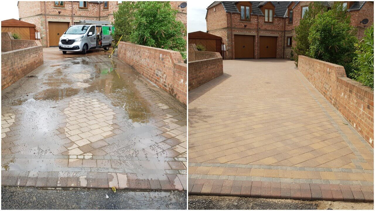 Block paving driveway power washed and re-sanded in Ackworth WF7 near Pontefract - May 2018.