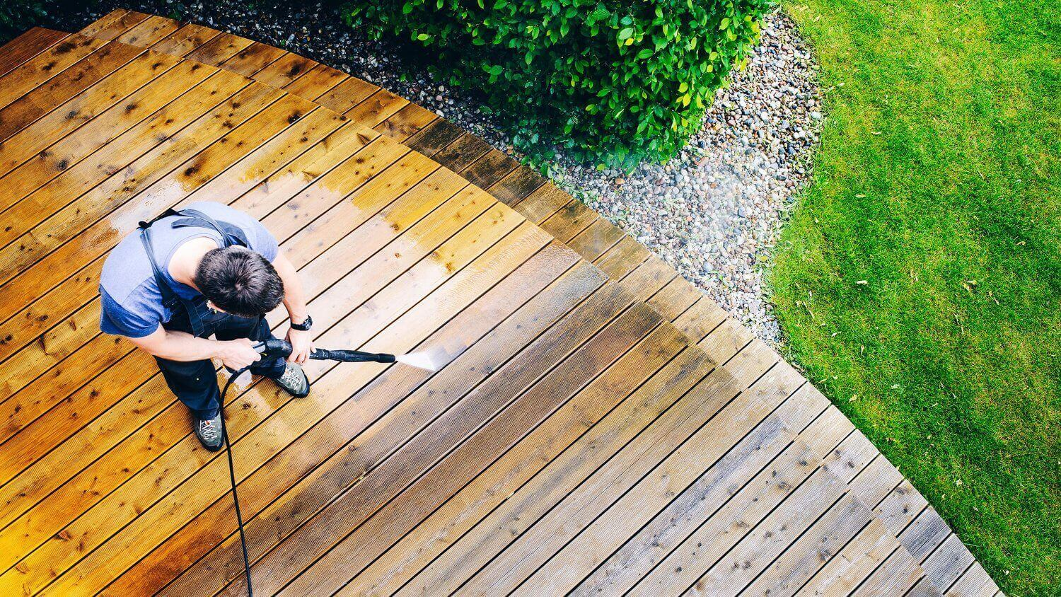 Power washing your decking areas making them cleaner, safer and ready for summer BBQ's. Decking pressure washed and oiled in North Leeds LS17.