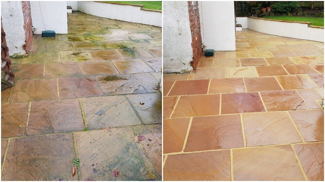 An Indian sandstone patio area in Wakefield WF3 before & after it's annual jet wash & treatment by Yorkshire Pressure Clean. Would you like your patio transforming like this?
