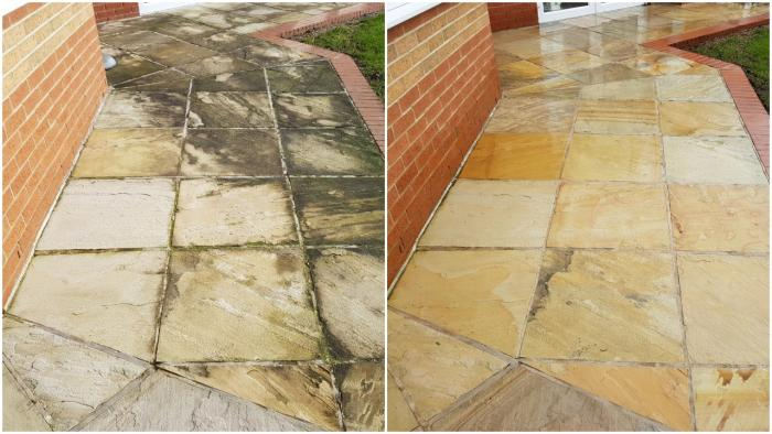 A before and after photo of the Indian sandstone paving we jet washed at the Hospice in Pontefract WF8.