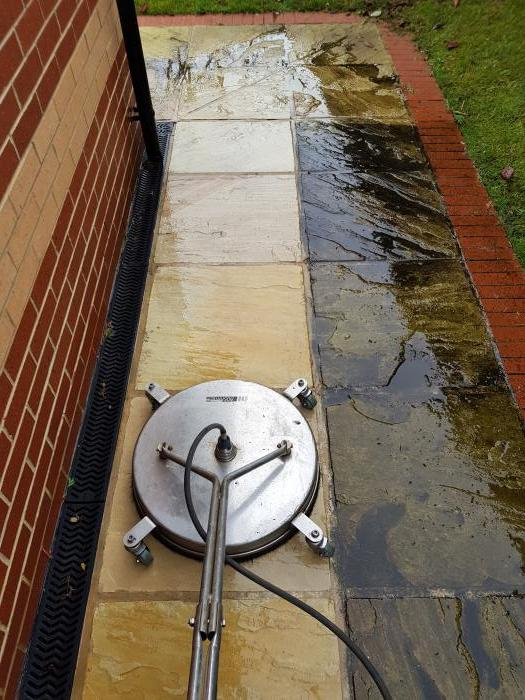 Spot the difference a professional paving clean can make.