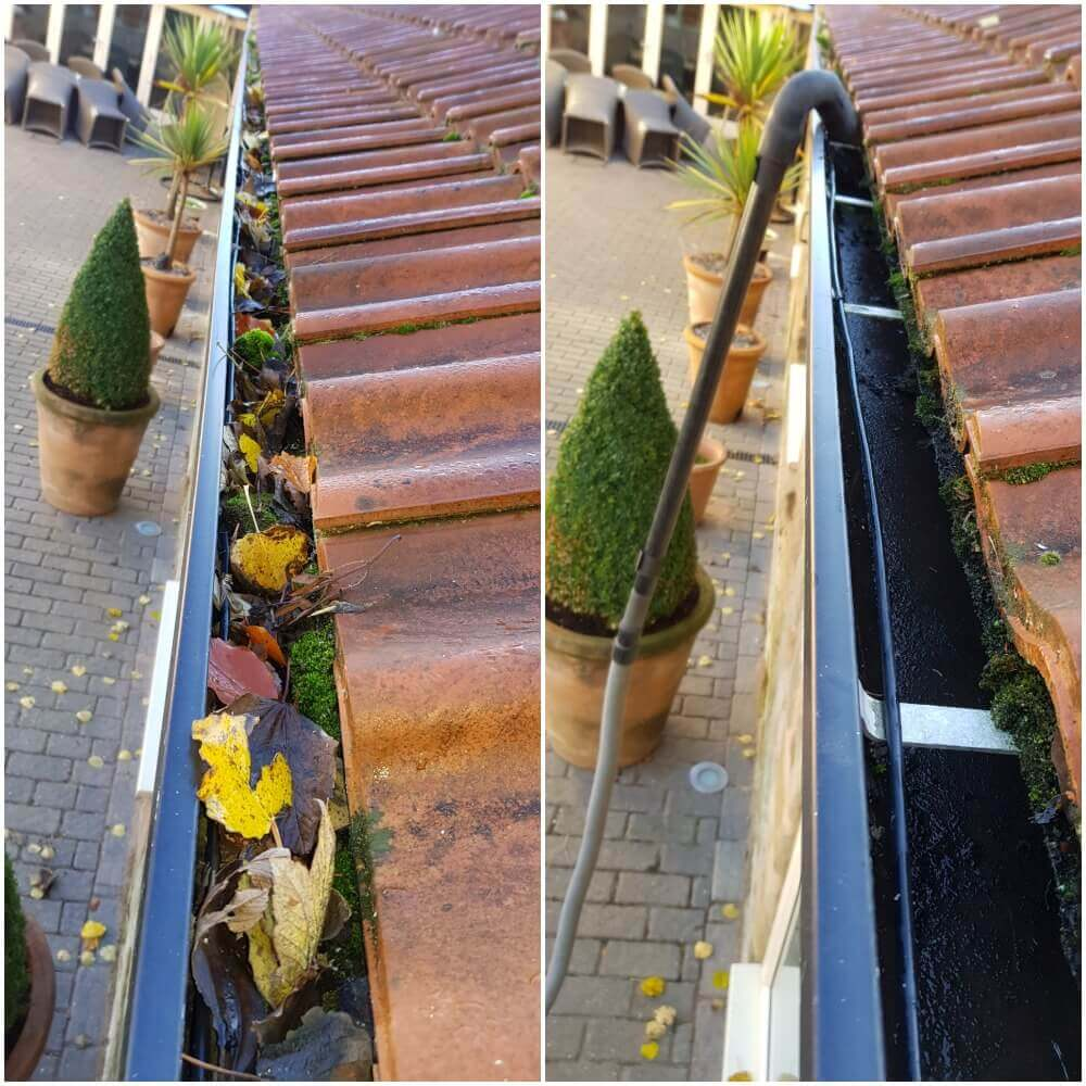 Gutter Cleaning in Pontefract WF8 made easy with the all new SkyVac system - before and after photos.