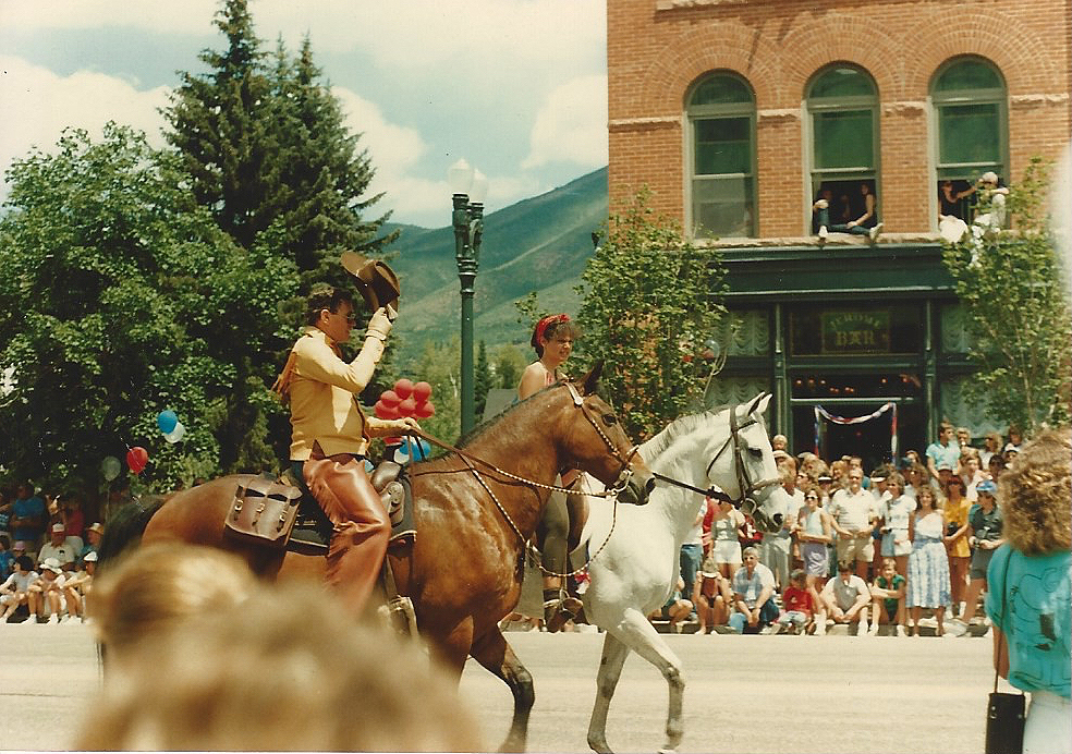 """""""I see the world as cinematic splendor."""" - On the grey goddess, Orphan Dancer, in the Aspen Fourth of July Parade, 1986. I was 17."""
