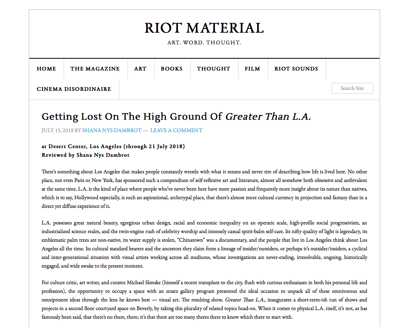 RIOT MATERIAL: GETTING LOST/JULY 15, 2018