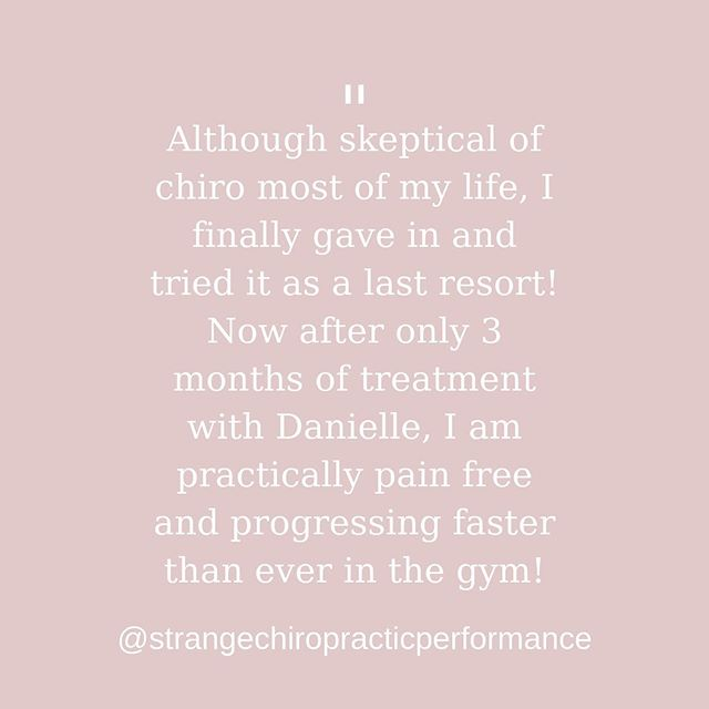 "Testimonial Tuesday! - • ""Words cannot describe how much Dr. Danielle has done for my shoulder and overall well-being. I have had shoulder pain/weakness/instability for over a year which had stalled any/all progress in the gym. Although skeptical of chiro most of my life, I finally gave in and tried it as a last resort! Now after only 3 months if treatment with Danielle, I am practically pain free and progressing faster than ever in the gym! If only I had contacted her sooner…"" - • Gary is a patient at my other office in Uniontown! He recently got into powerlifting and found himself stalling in his bench press due to pain! After about 2 treatments of Graston and some corrective exercises he was out of pain! Which means now he is back to seeing progress on his lifts! - • This is what I love to see patients getting better in as few treatments as possible so that they are able to get back to the things they love! - • If you would like to schedule your first Graston Treatment today or have any questions about care message me, call me at 724-787-9633, or visit Strangechiro.com"