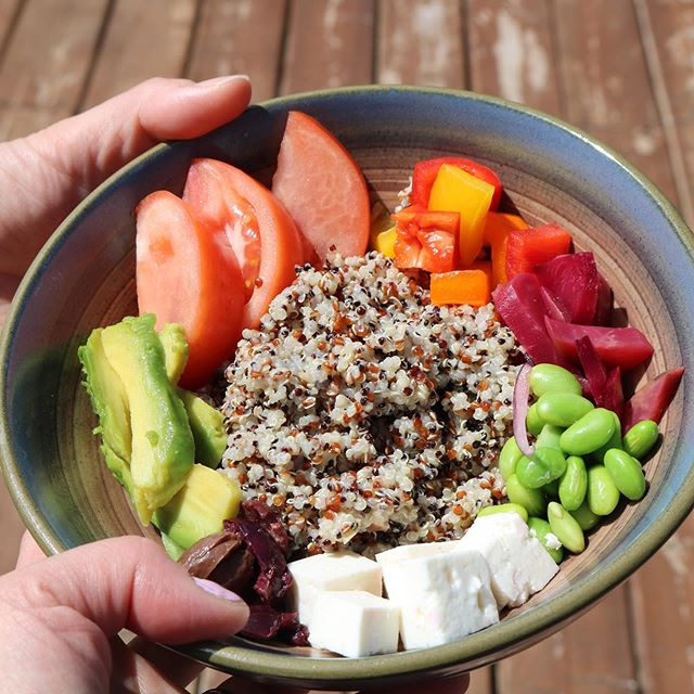 "What do you add to your protein bowl?  This was some food 🥘 worth fighting over. While on our #wellnessretreat this week my girlfriend and I grabbed the same ""Buddha Bowl"" for lunch: healthy foods that nourish, present variety and just look beautiful 🌈 together. . I'm inspired ✨ to revisit making these as part of my food-prep plans. . Who makes these? Any tips or favourite ingredients to share? . #eatrealfood #cleaneating #organic #proteinbowl #brainfood #wellness #mindbodyhealth #energy #activeliving"