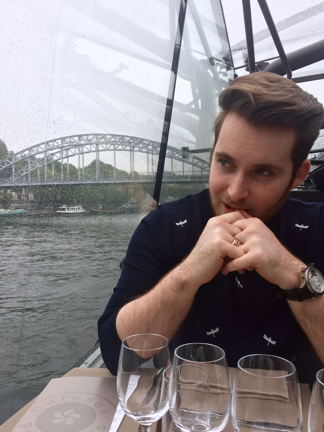Bateaux Parisien - Damon Looking Out of the window whilst seated at our window table