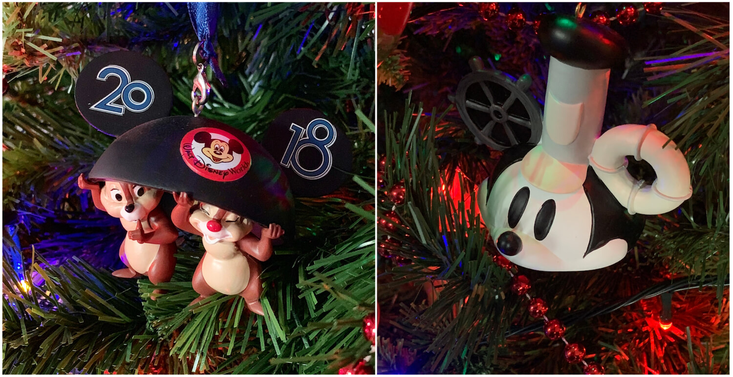 Walt Disney World Ornaments Baubles Chip and Dale Steamboat Willie Mickey
