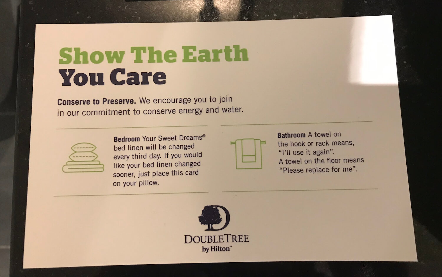 DoubleTree Dundee Conserve To Preserve Policy Card