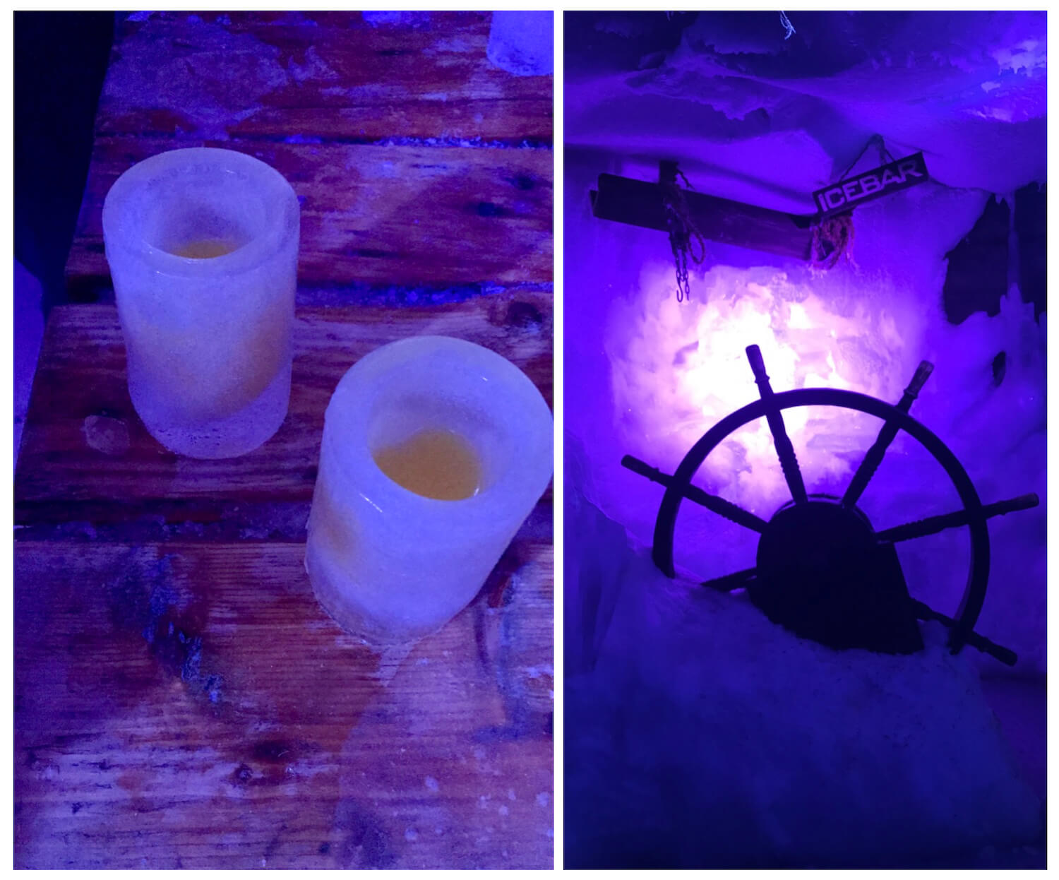 Xtracold Icebar Amsterdam Ice Glasses and ships wheel collage