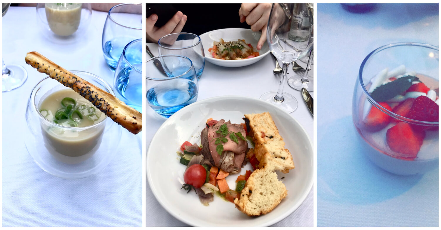 Lovers Canal Cruise Food - Starter of soup, meat and fish main course, pudding