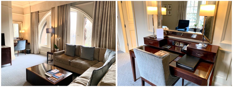 Waldorf Astoria Edinburgh - One Bedroom Suite - Furniture in living area and desk in bedroom