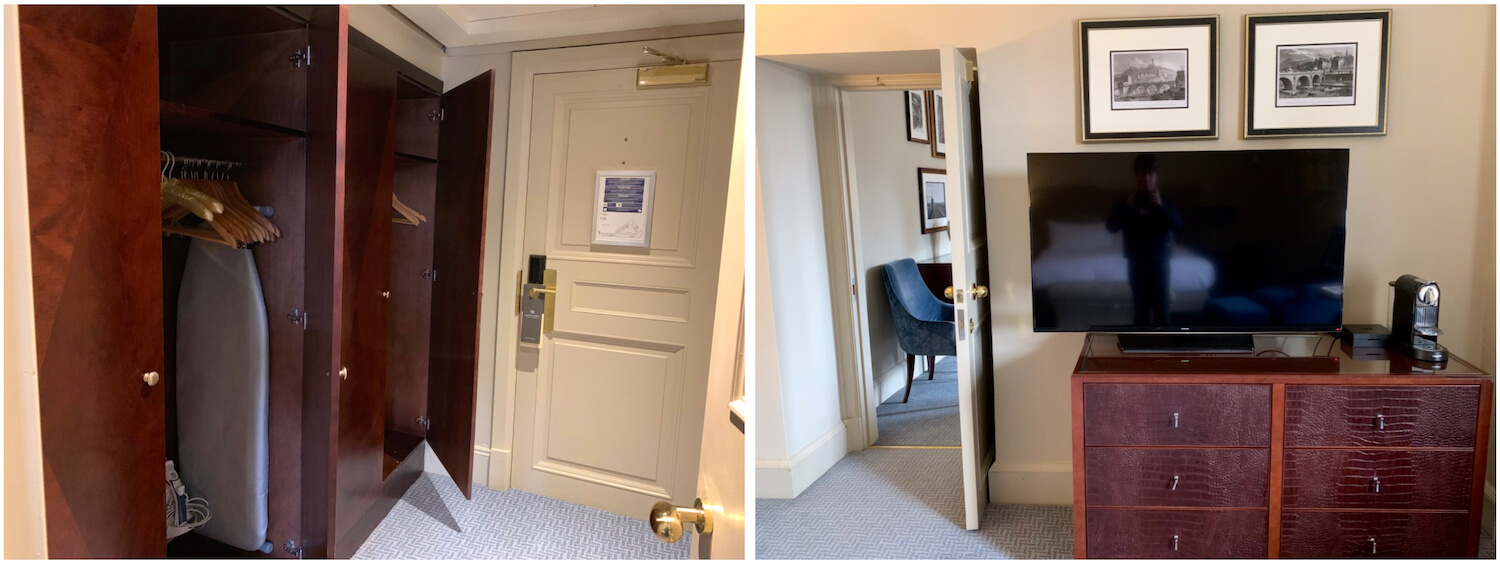 Waldorf Astoria Edinburgh - One Bedroom Suite - Storage - changing room with wardrobes, ironing board and TV with drawers