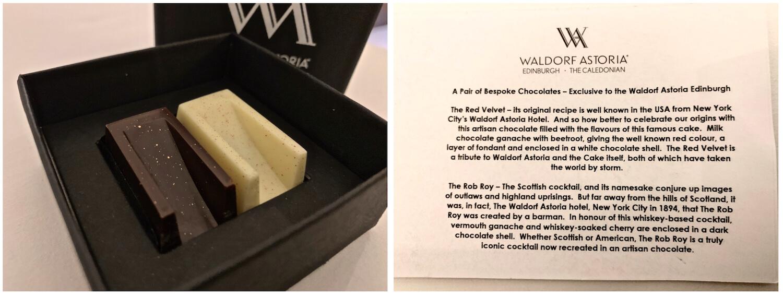 Waldorf Astoria Edinburgh - One Bedroom Suite - red velvet and rob roy Chocolates For Turndown Service
