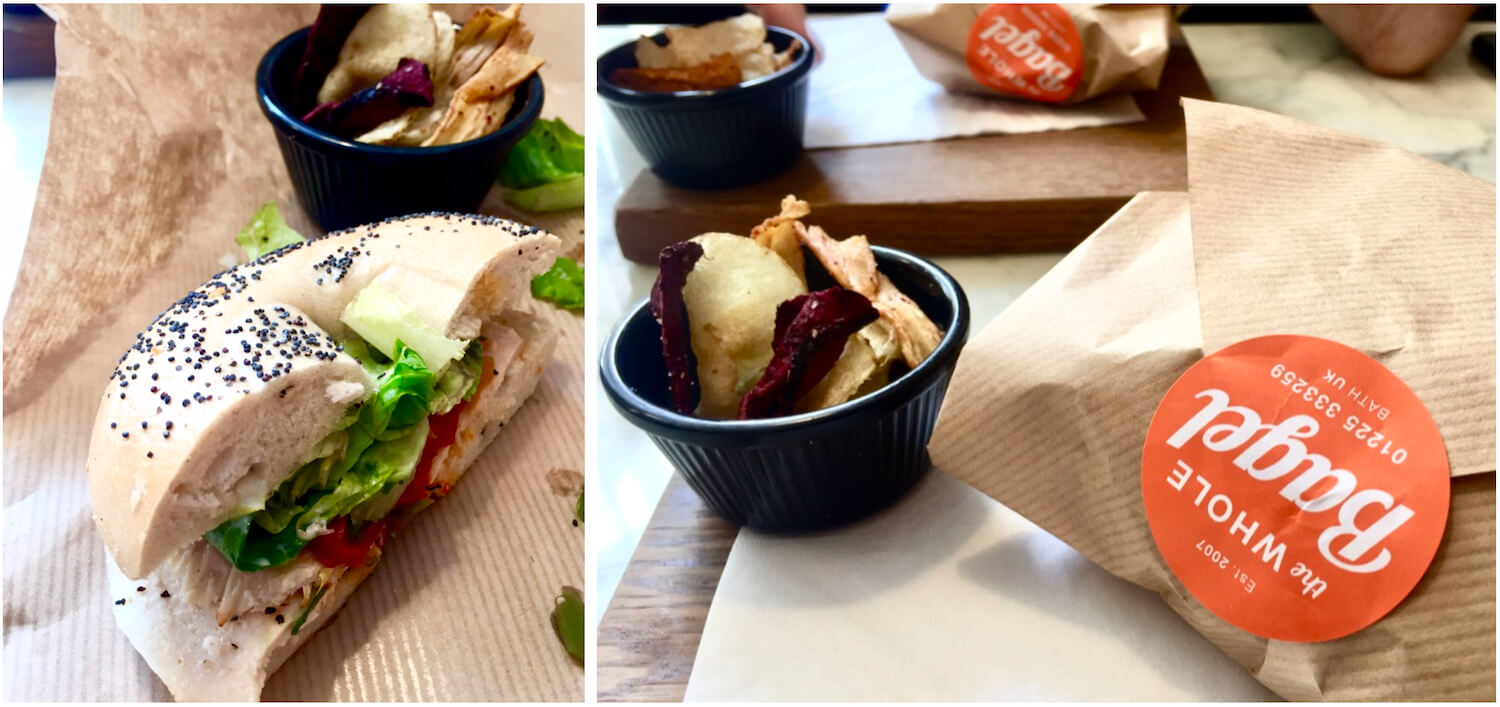 The Whole Bagel Cafe - Bagels with Crisps - Bath, Somerset