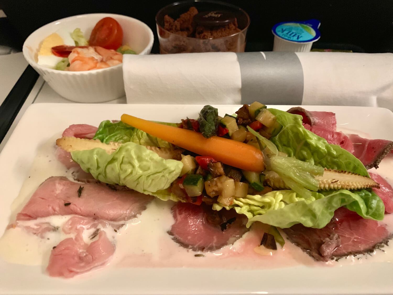 British Airways Club Europe Airbus A320 Food Beef Carpaccio