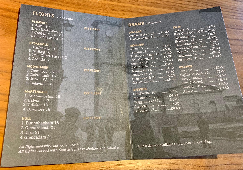 The Clydeside Distillery - Whisky Menu