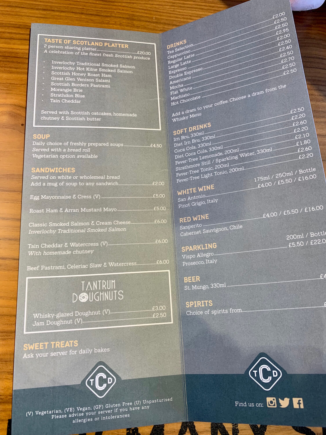 The Clydeside Distillery - Food and Drink MenU