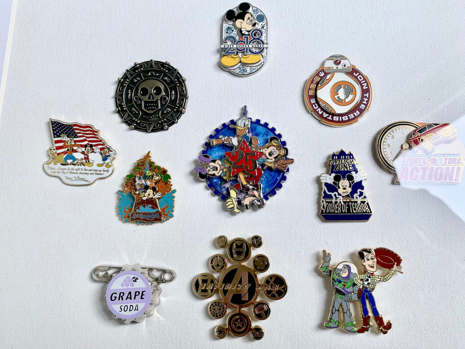 Disney Pin Badges - Displayed in Frame in A Symmetrical Pattern