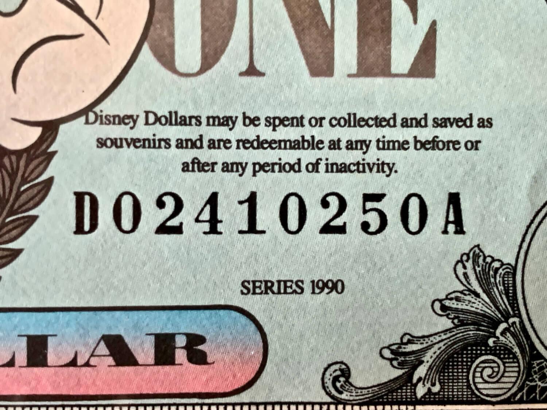 Disney Dollar Serial Number