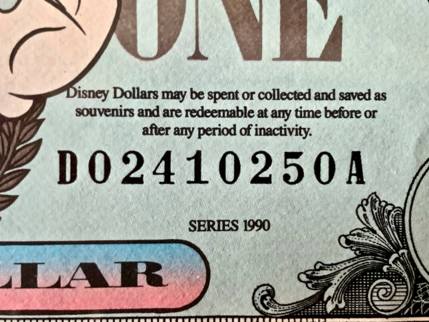 Disney Dollar Serial Number