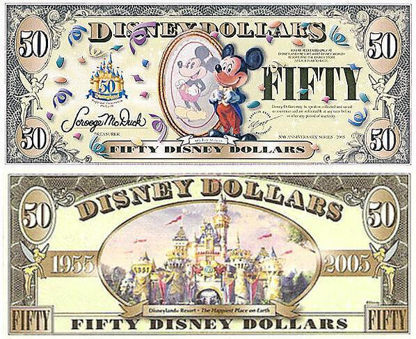 2005 $50 Mickey Boyer Disney Dollar - Courtesy of  http://www.disneydollars.net