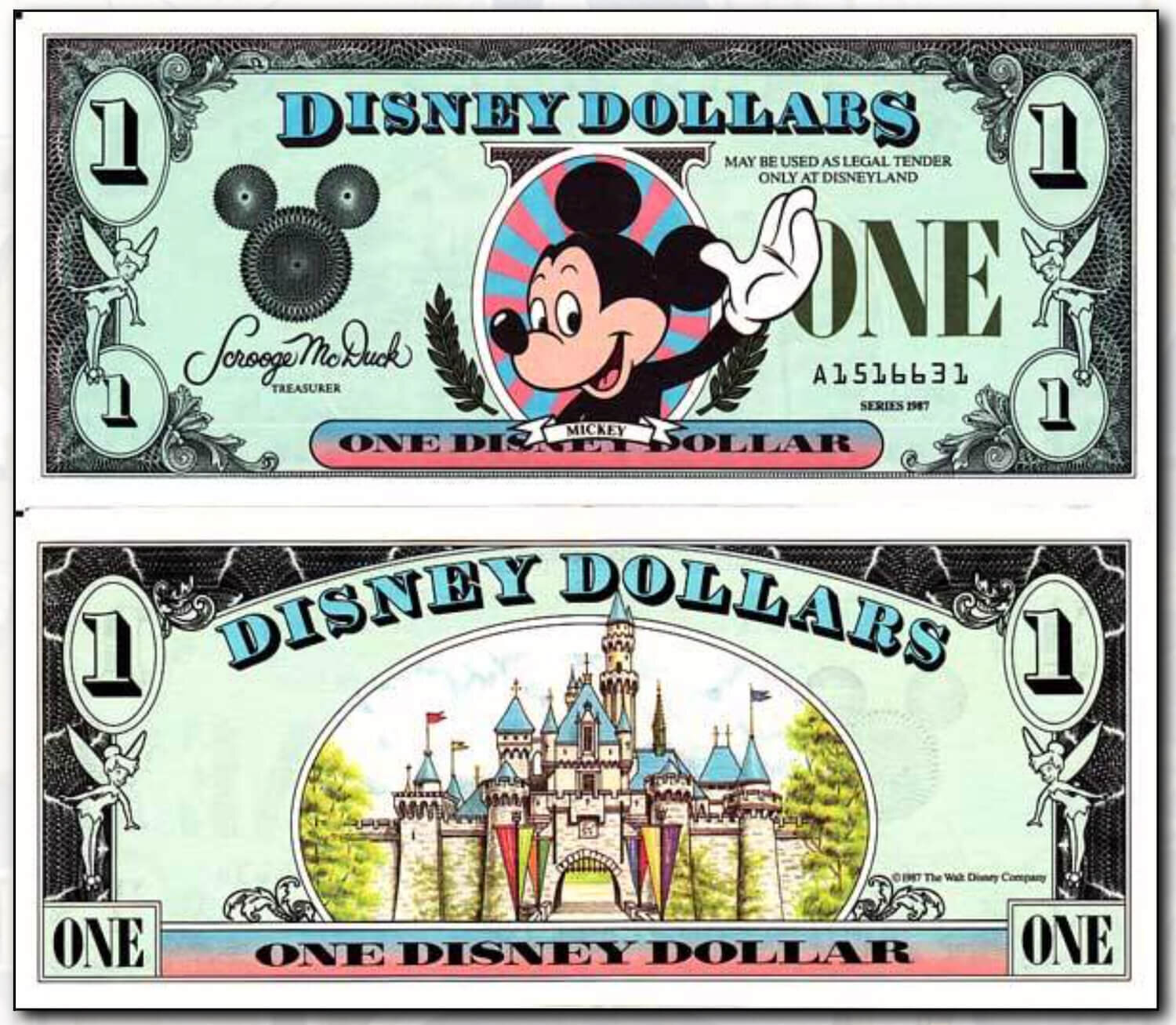$1 Disneyland Mickey From 1987 - Courtesy of  http://www.disneydollars.net