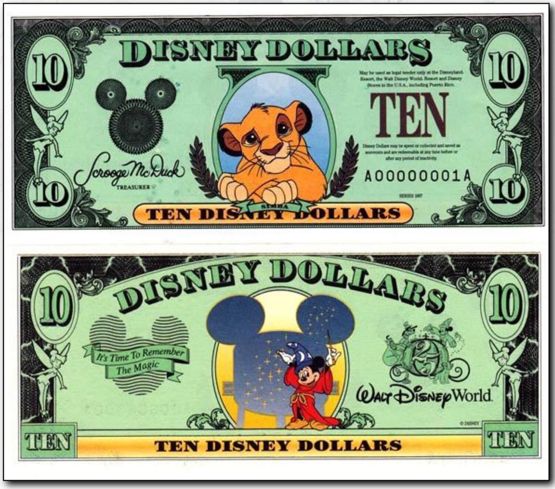 1997 $10 Simba Disney Dollar - Courtesy of http://www.disneydollars.net