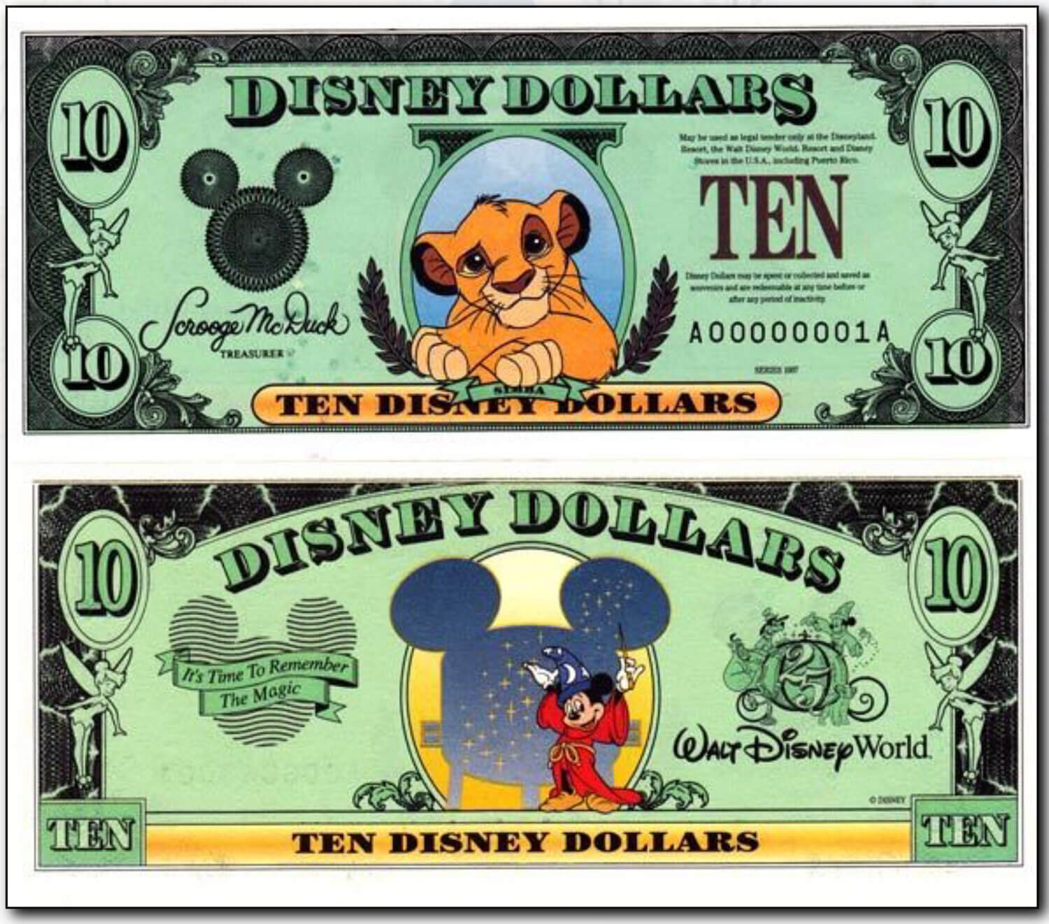 1997 $10 Simba Disney Dollar - Courtesy of  http://www.disneydollars.net