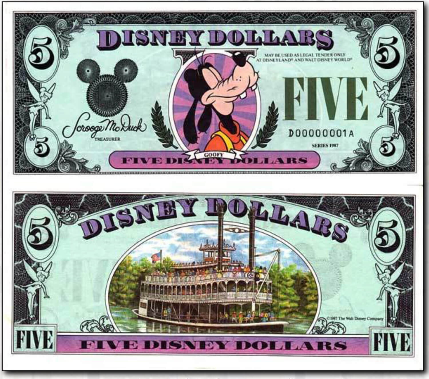 Disney Dollar Low Serial Number Goofy - Courtesy of  http://www.disneydollars.net