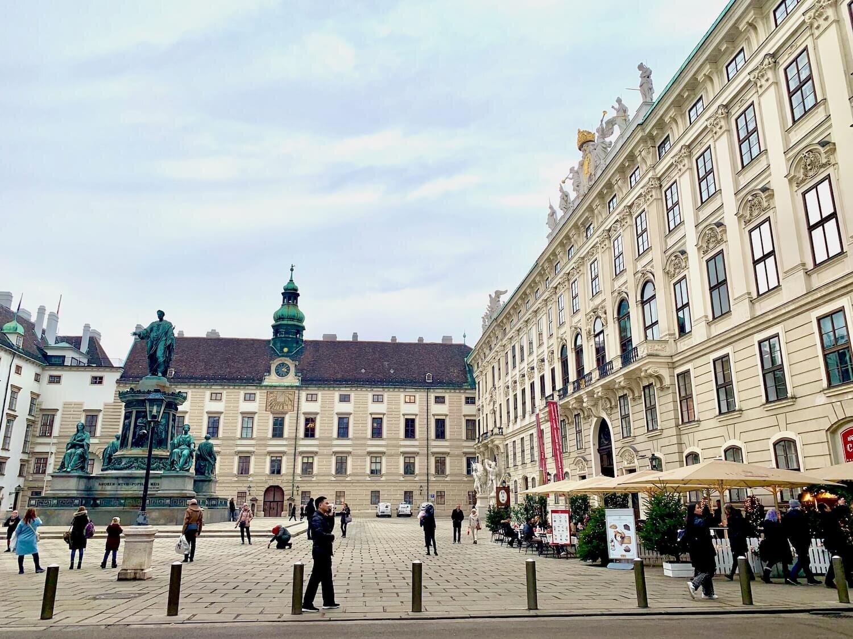 Hofburg Palace - Innerer Burghof with Hofburg Cafe on right hand side