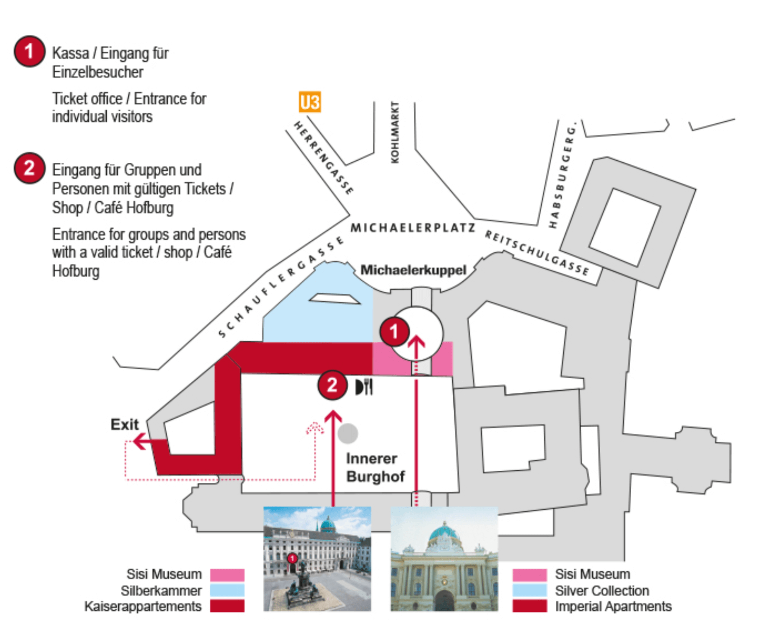 Hofburg Palace Map - Sisi Museum, Imperial Apartments, Silver Collection