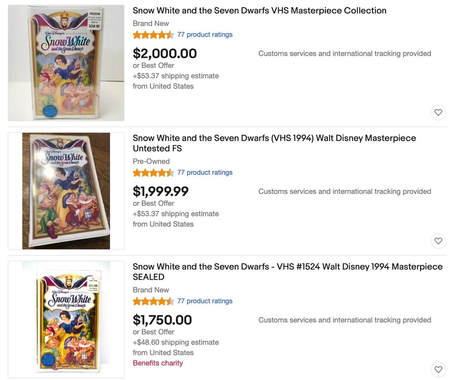 Rip Off Pricing For The Masterpiece Snow White VHS