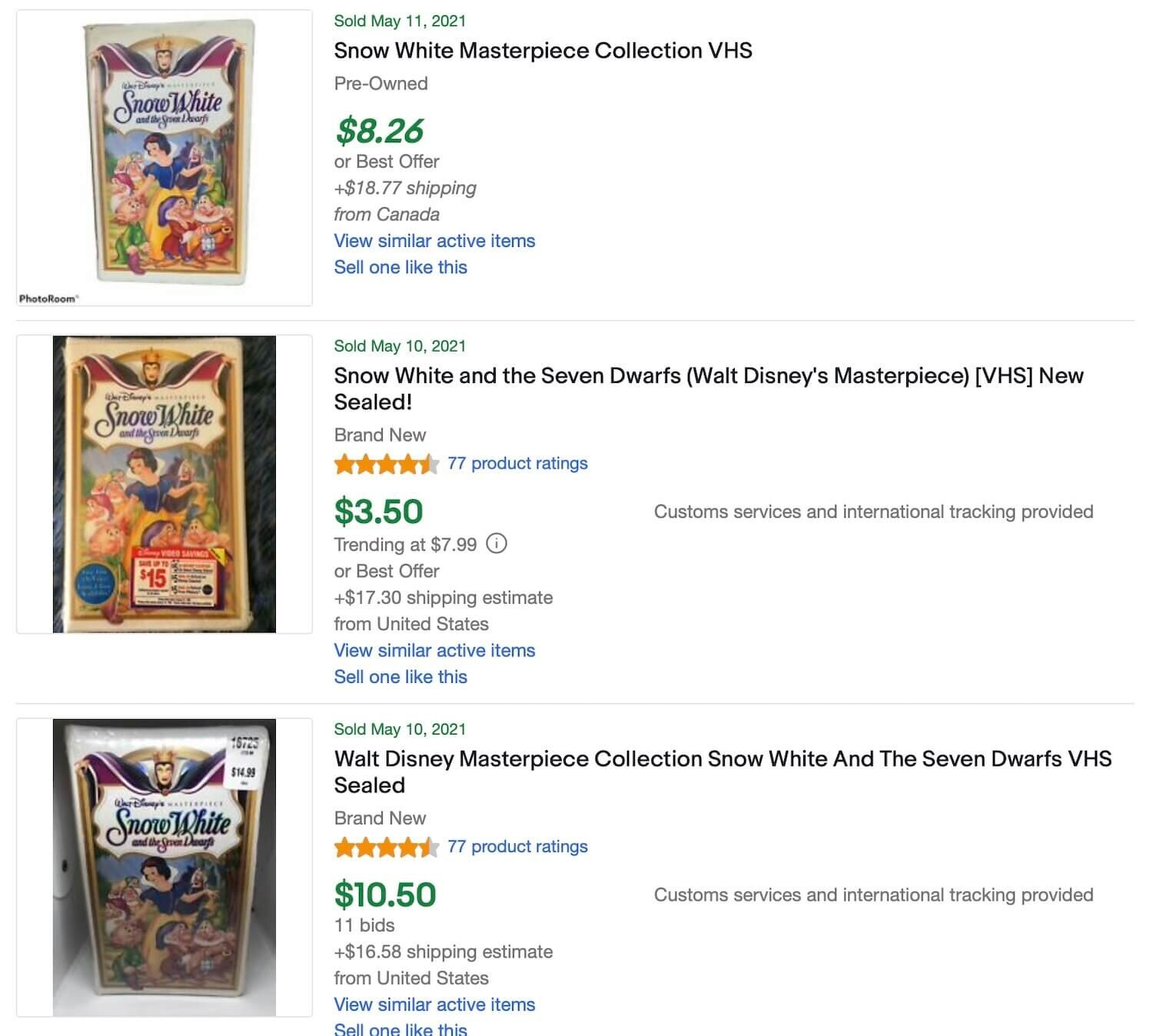 ACtual Sold Prices For The Masterpiece Snow White VHS