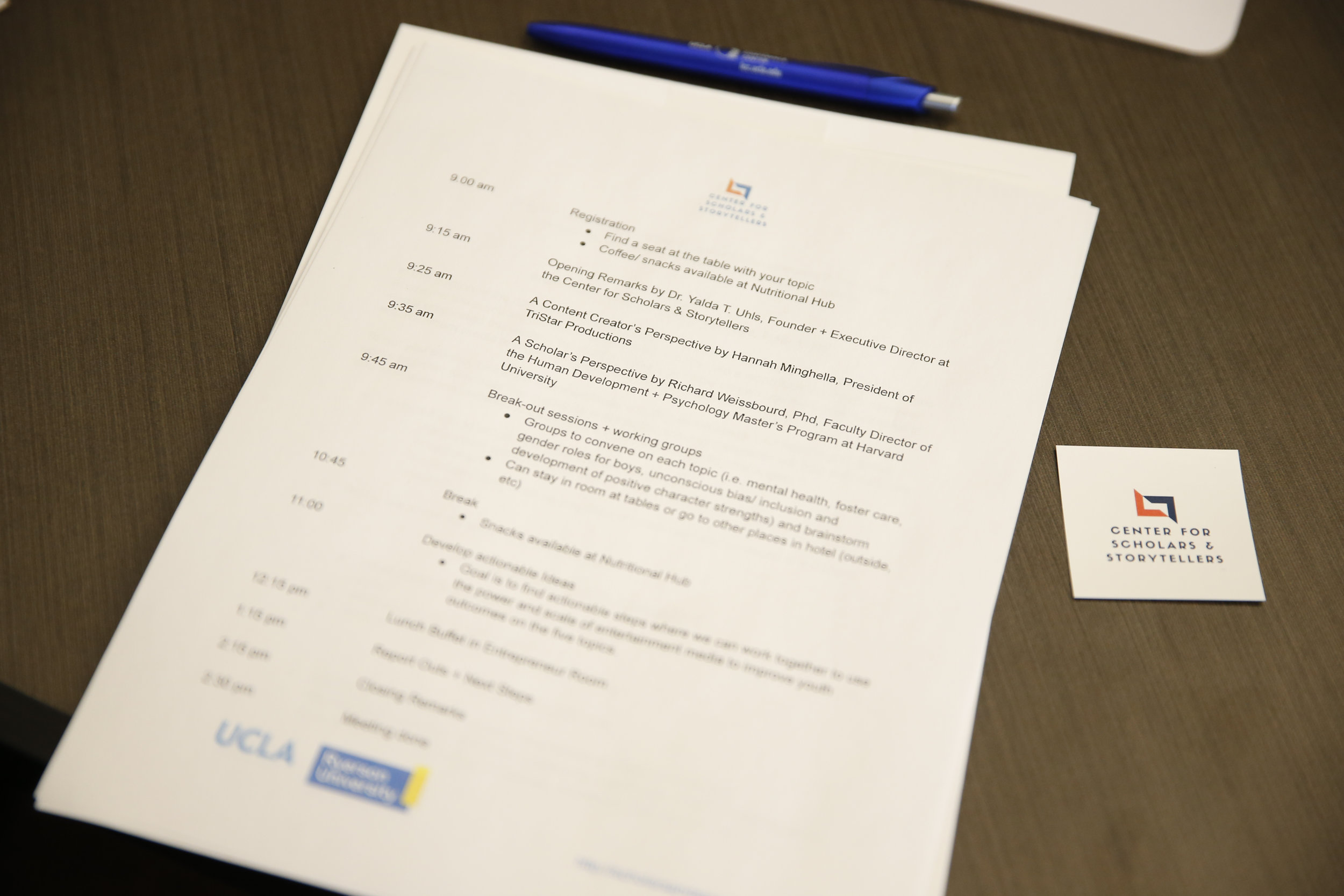The agenda for our first think tank, held at UCLA's Luskin conference Center.