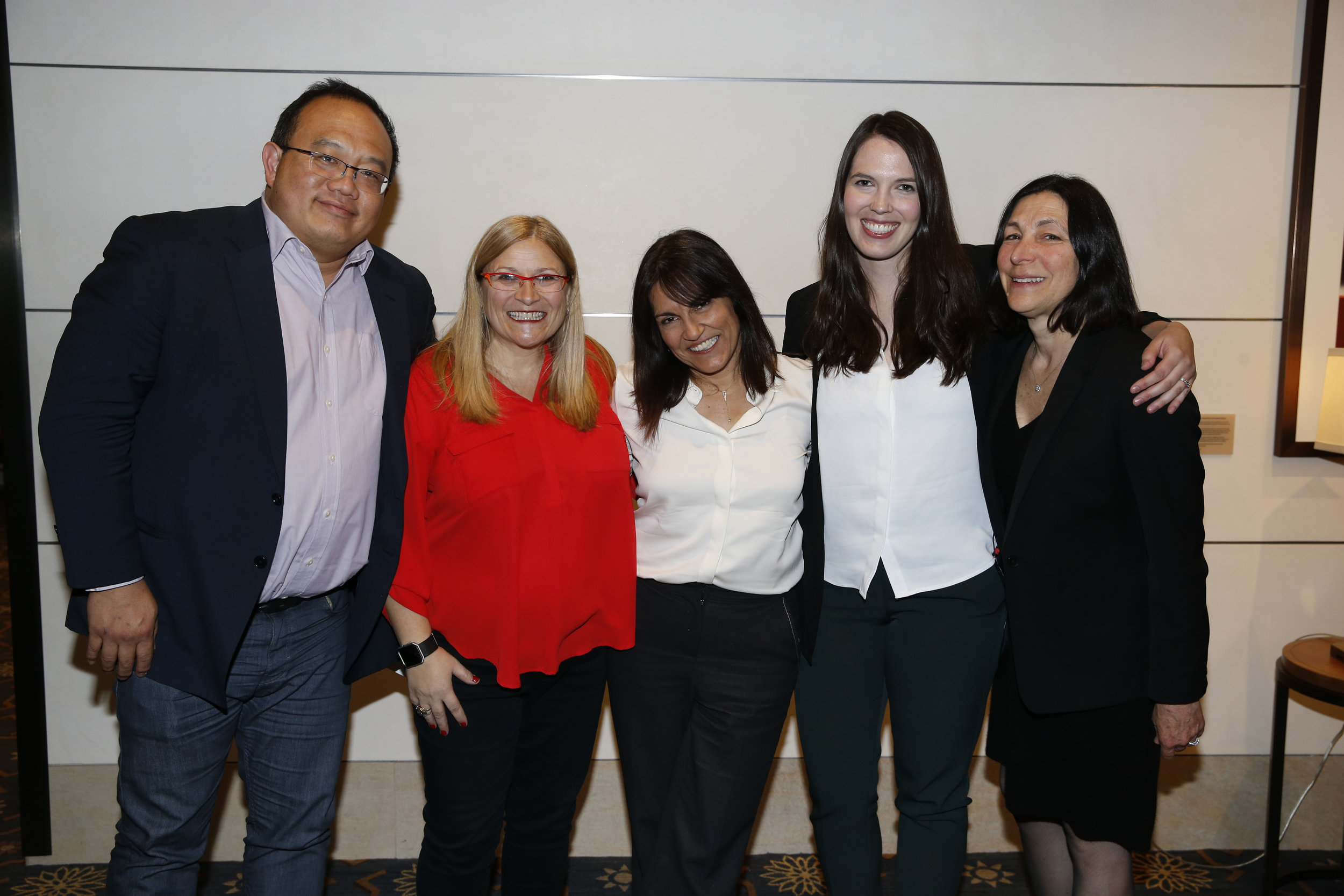 Screenwriter, Director, and Professor at UCLA George Huang (left), Co-Director of CSS Kim Wilson (center left), Founder and Executive Director of CSS Yalda T. Uhls (center), Co-Director Colleen Russo Johnson (center right), Chief Administrative Officer of CSS Louise Zeitzew (right)