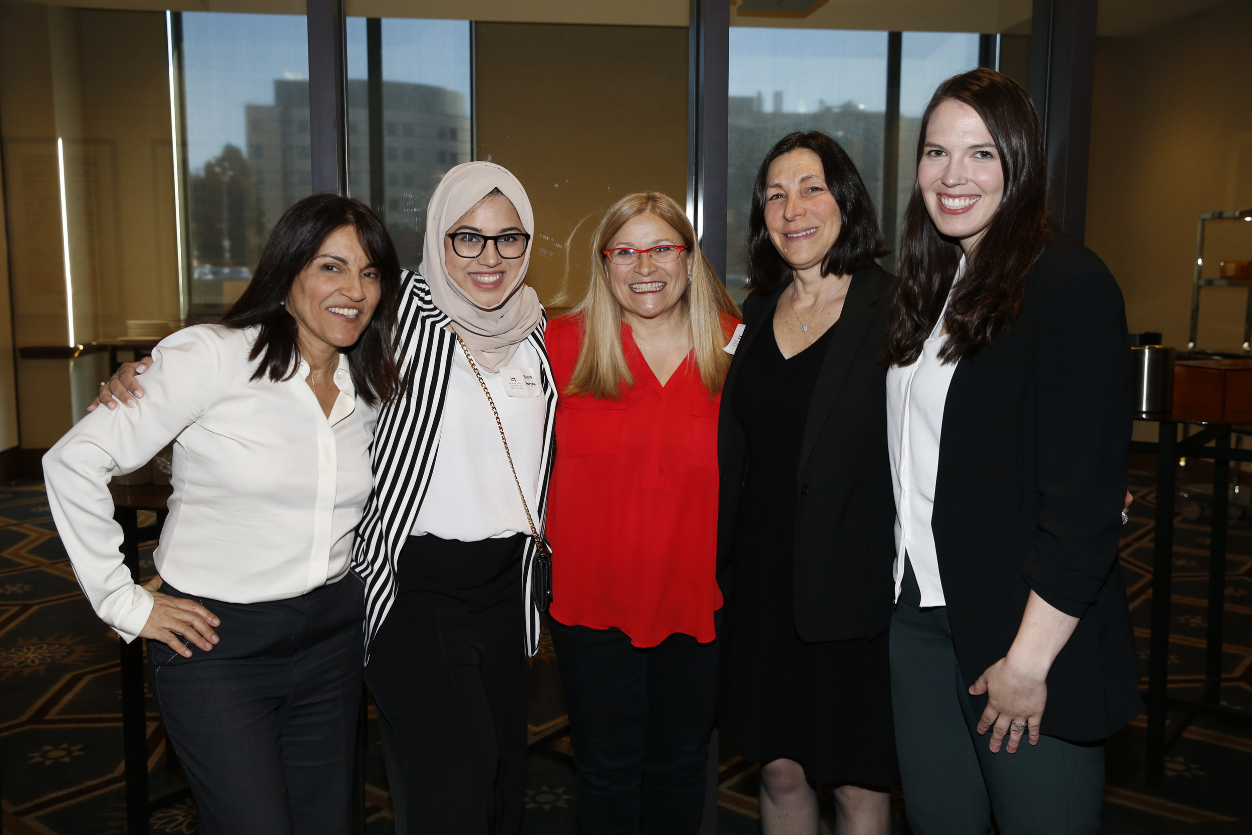 Founder and Executive Director of CSS Yalda T. Uhls (left), Project Manager of Special Events for CSS Yusra Farzan (center left), Co-Director of CSS Kim Wilson (center), Chief Administrative Officer of CSS Louise Zeitzew (center right), Co-Director Colleen Russo Johnson (right)