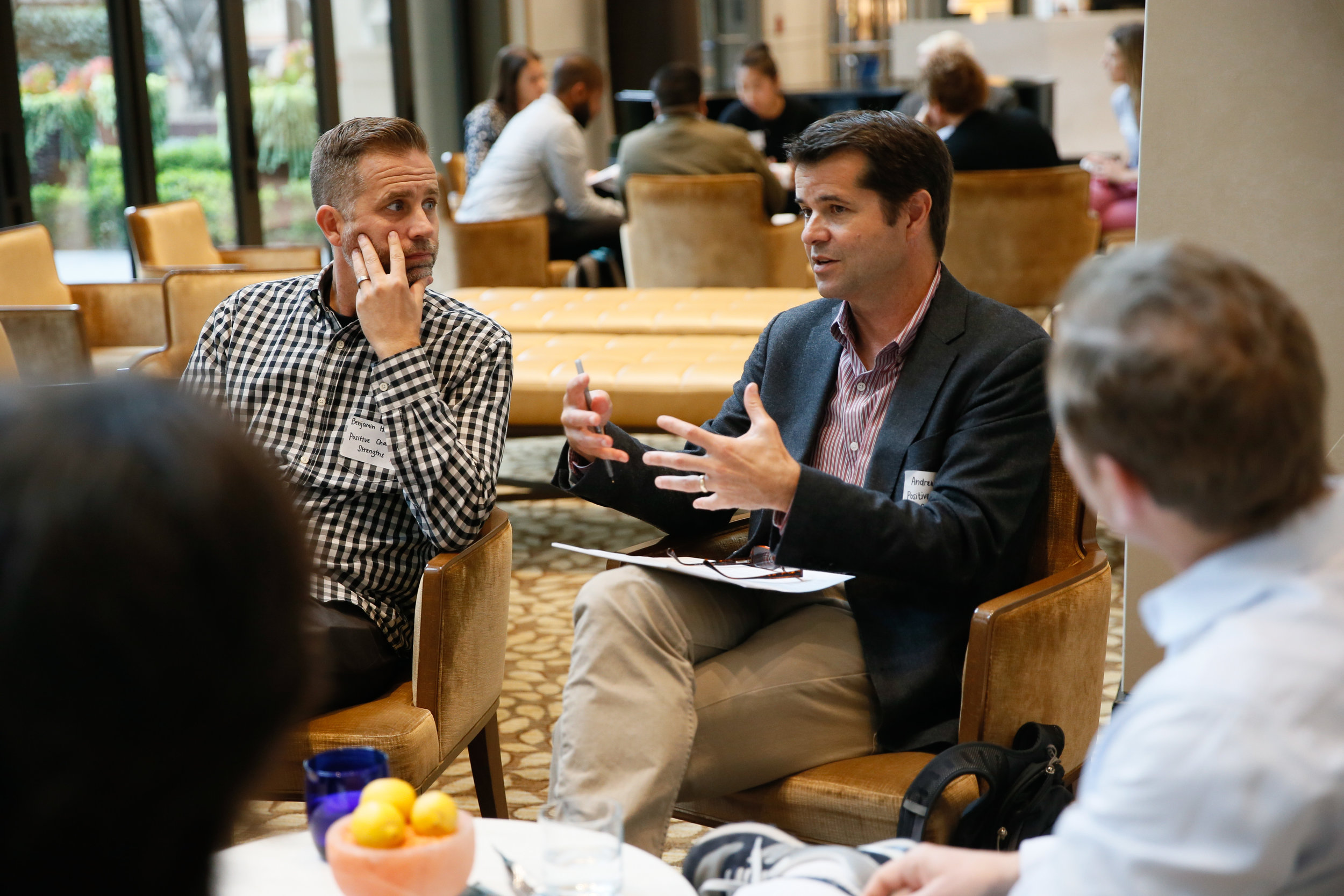 Director of Research at the USC Performance Science Institute Benjamin Houltberg (left) and UCLA Professor-in-Residence Dr. Fuligni (right) in group discussion on positive character strengths.