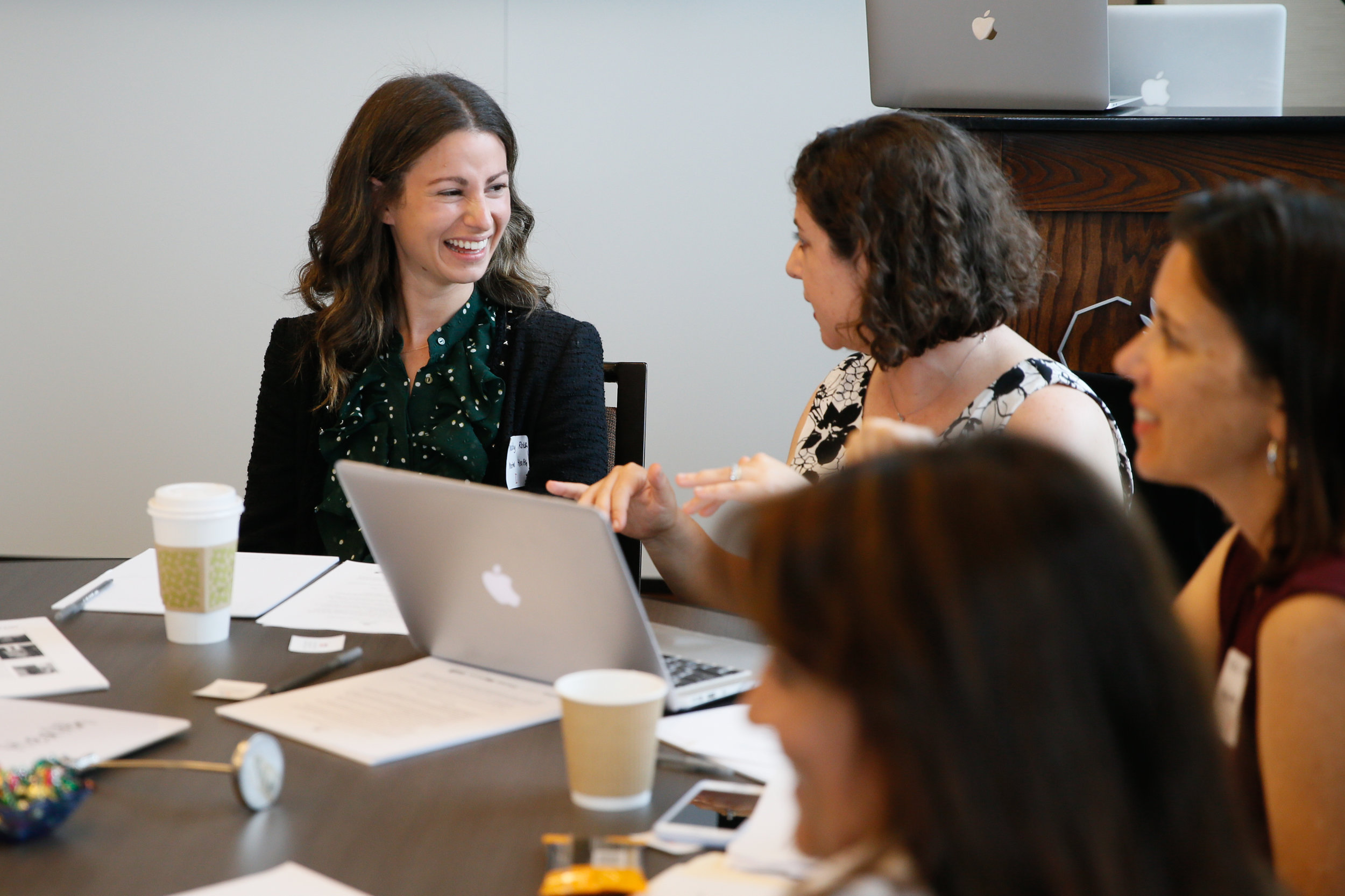 Executive at Foundation at Creative Artists Agency Maddy Roth (left) discussing mental health in kids entertainment with USC lecturer Laurel Felt (right).