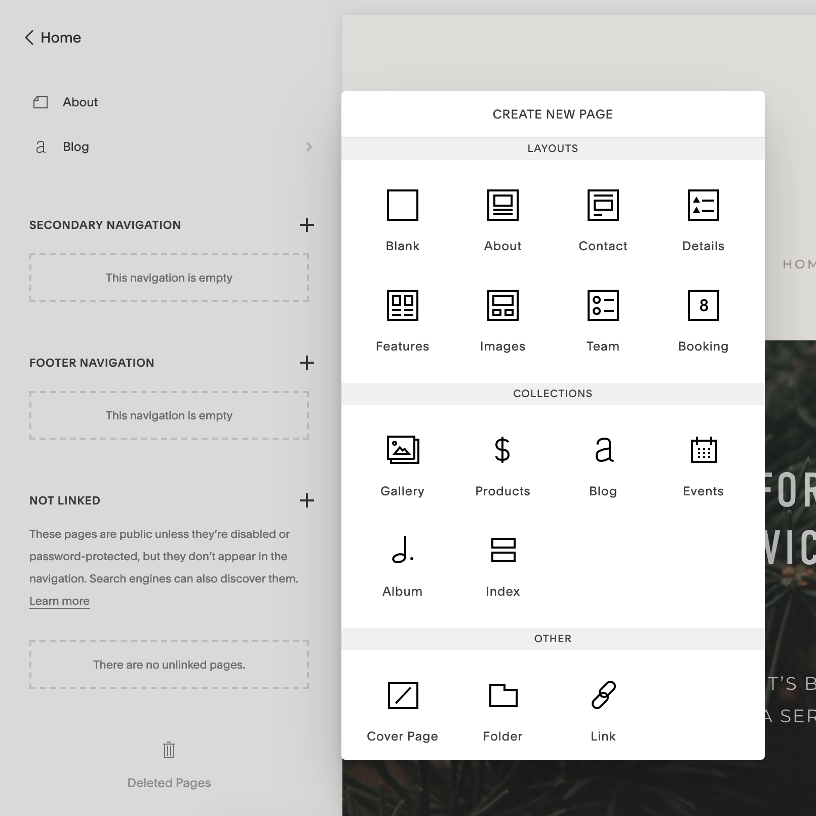 """Clicking the """"+"""" icon in Page or Navigation sections brings up a clean, simple overlay to choose the type of page or content you want to add."""