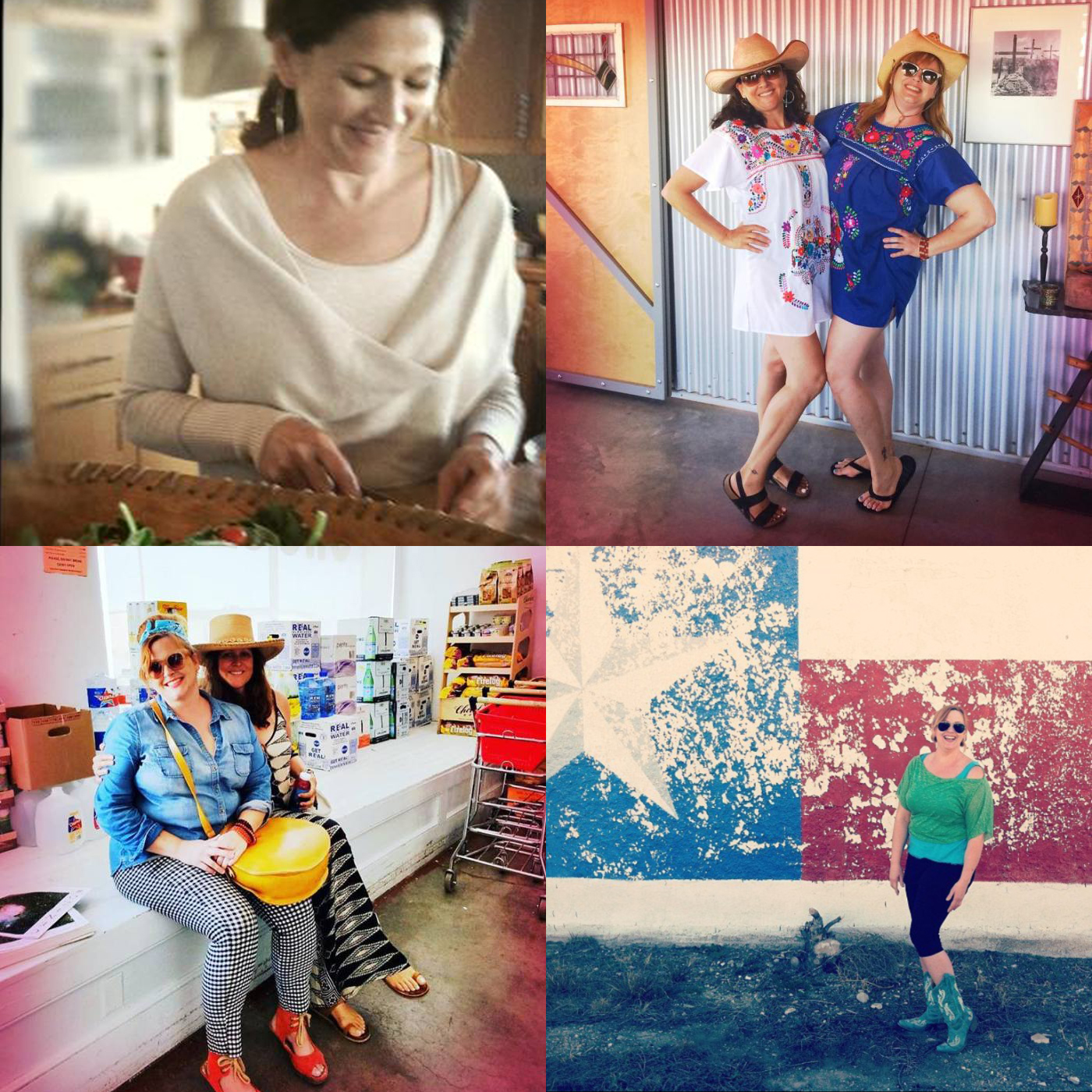 From Top Left (clockwise): Wilma cooking her amazing food, Wilma & Sarah twinning for  Balmorhea , Sarah in West Texas Yoga Chic, Sarah & Wilma out on the town in  Marfa
