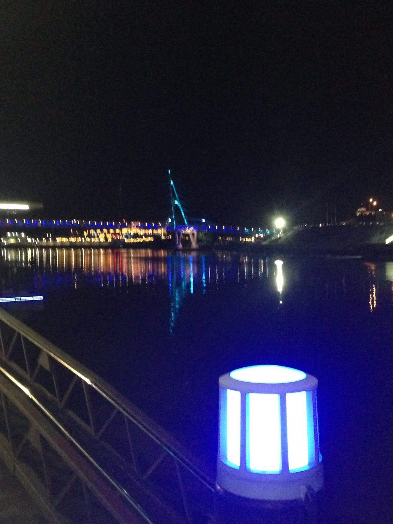 The River Promenade by night in Kuching