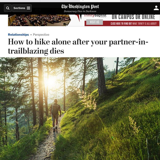 I'm excited to share this essay in The Washington Post about how my father learned to hike (and live) alone after my mom's death. To me, the story is about how we learn to carry the love of those we've lost with us. Editor Lisa Bonos came up with the title: How to hike alone after your trail-blazing partner dies. My mom would have laughed heartily at that descriptor, but it's spot on! See the link in bio to sign up for infrequent posts of new essays.