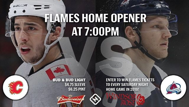 Come down to Windsor tonight for 7 o'clocks game & your chance to win Flames tickets to this Saturday's game! #NHL #calgaryhockey #yychockey #calgarysbestpubs #calgaryflames #yyccontest