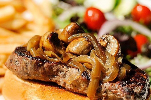 """Our 6oz """"AAA"""" Steak Sandwich & Fries are on for only $8.99 from 4pm - close, every Tuesday! #yycfood #calgaryeats #yycspecials #calgarypubs"""